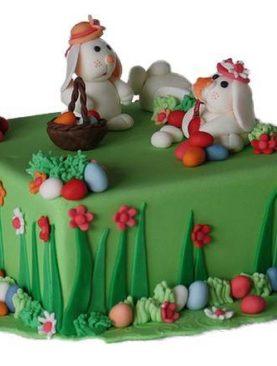 Tort de paste oua si iepurasi